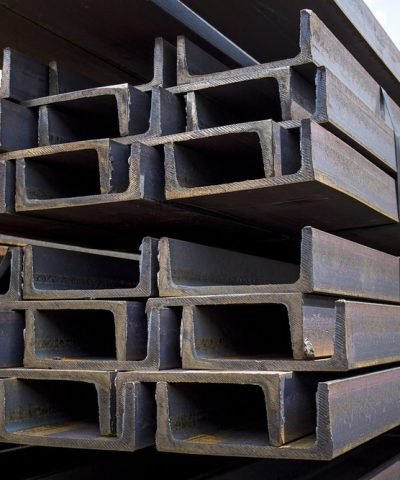Structural steel beams ready for construction